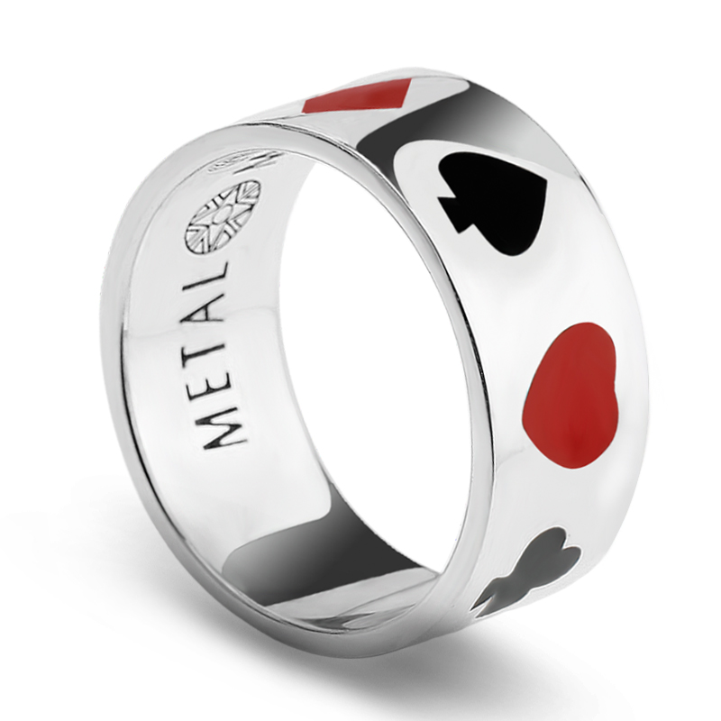 925 Sterling Silver Street Poker Ring with Black and Red Enamel Magician Unique Design for Men Women Lovers Halloween Jewelry925 Sterling Silver Street Poker Ring with Black and Red Enamel Magician Unique Design for Men Women Lovers Halloween Jewelry