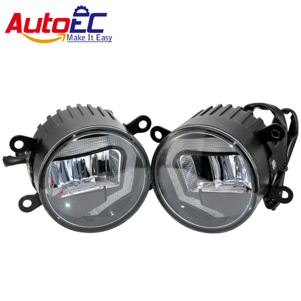 AutoEC New 2 in 1 6000k 10w LED Car Auto Fog Light Daytime Running Light DRL DC12-24V for 4x4 SUV ATV Offroad 2pcs/1set #LM145 qvvcev 2pcs new car led fog lamps 60w 9005 hb3 auto foglight drl headlight daytime running light lamp bulb pure white dc12v