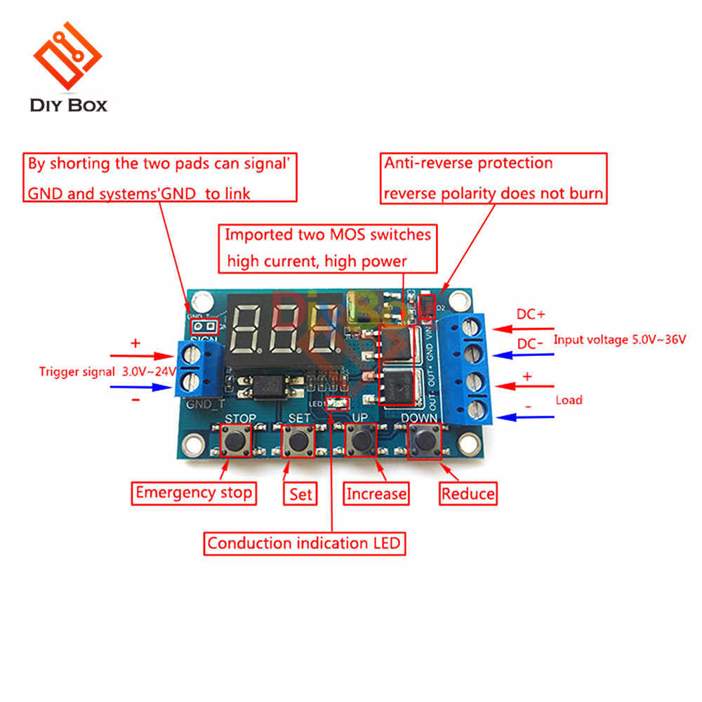 DC 12V 24V Time Delay Relay Switch Module Trigger Cycle Circuit Board Dual  MOS Tube Control Timer Relay DC Motor LED Light Micro