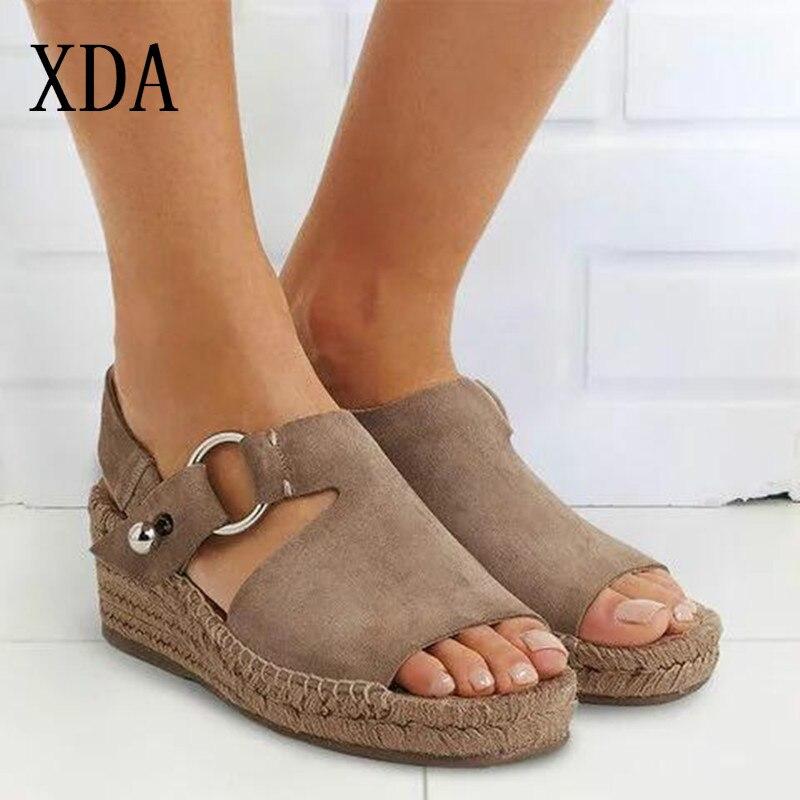 c79c1401fd0b Sandales 35 43 Femmes D'été noir Chaussures Femme Xda kaki Taille Mode Pour  Rétro Plate ...