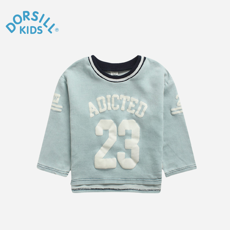Dorsill 2016 New Spring and Autumn Active O-Neck Letter Boys and Girls Unisex Cotton T-shirts