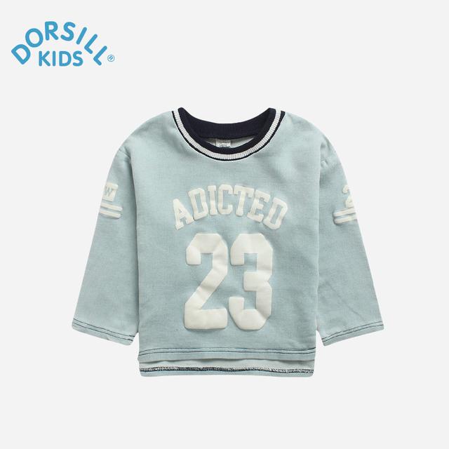 Dorsill 2017 Nova Primavera de Roupas infantis e Outono Ativo O-pescoço Carta Meninos T-shirts e Camisetas de Algodão Meninas