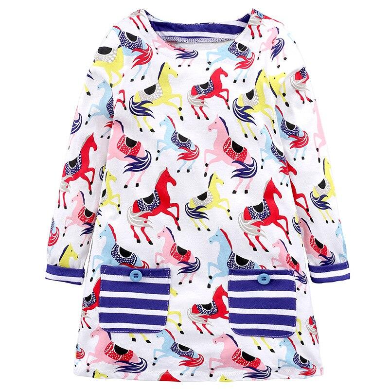 Princess Dress 2018 Brand Baby Girls Dresses With Animal Horse Appliques Cotton Casual Children Dress Kids Clothes Vestidos