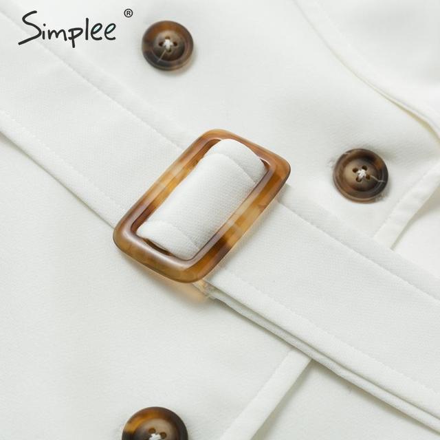 Simplee Solid ruffled sleeve women blazer dress Elegant sash belt office ladies trench dress V-neck shawl party dress vestidos 5