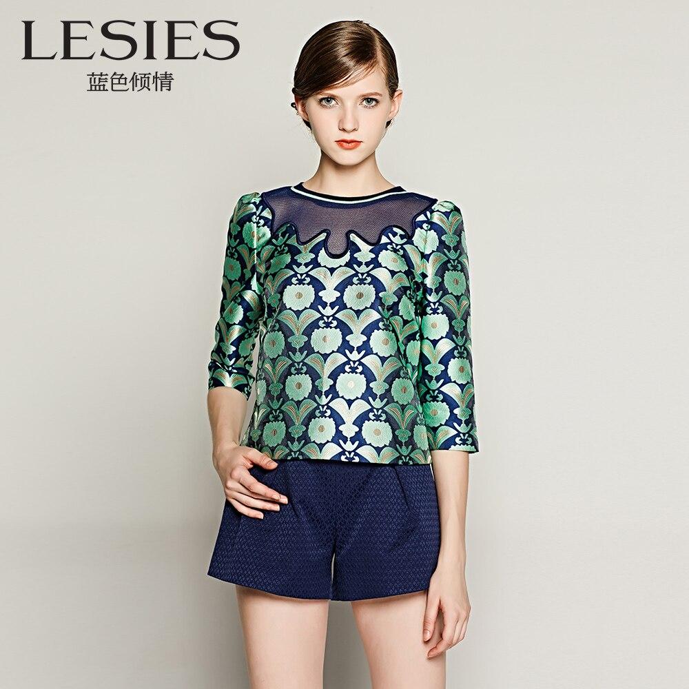 Lesies otoño primavera blusa de estampado floral camisa elegante de las mujeres