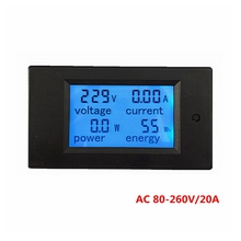 Nuevo Medidor de Energía de Tensión de Alimentación De Corriente AC 80-260 V/20A Del Amperímetro Del Voltímetro con luz de Fondo Azul de Alarma De Sobrecarga función para Interiores