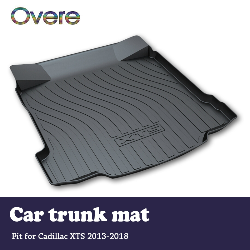 Overe 1Set Car Cargo rear trunk mat For Cadillac XTS 2013 2014 2015 2016 2017 2018 Styling Boot Liner Anti-slip mat Accessories custom car mat trunk cargo liner for porsche 911 cayman cayenne macan panamera car trunk pad car accessories car styling