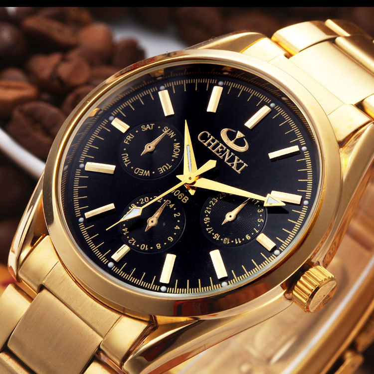 2018 New Arrival Luxury Relojes Yellow Gold Stainless Steel Quartz Wristwatches Wrist Watch for Men Male 3 Eyes
