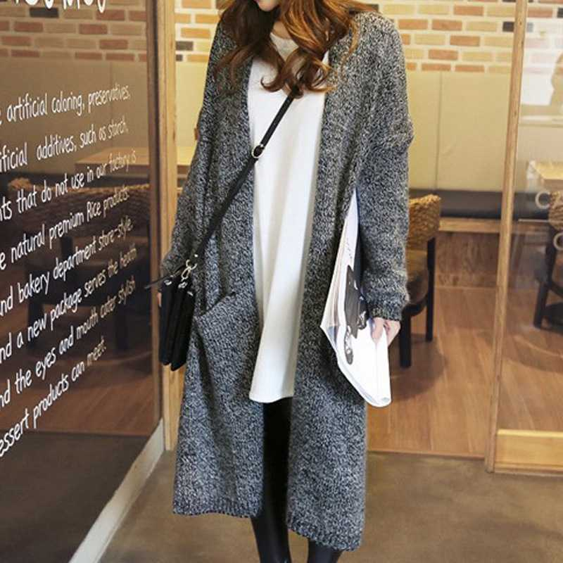 Online Shop Celebrity stylish long sweater Cardigan in black and ...