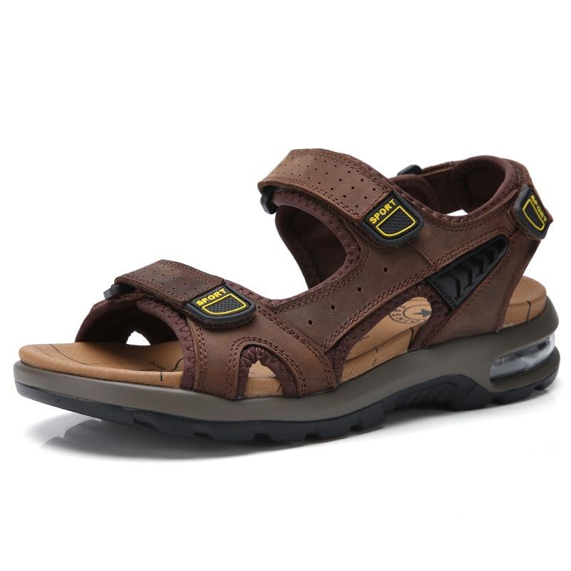 100% QualitäT 2019 Männer Echtes Leder Sandalen Hohe Qualität Große Größe Männer Strand Sandalen Mode Air Kissen Sandalen Atmungsaktive Schuhe Männer Neueste Mode