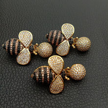 Cubic Zircon Micro pave bee fixed interlayer clasp clip double connector DIY Jewelry Findings