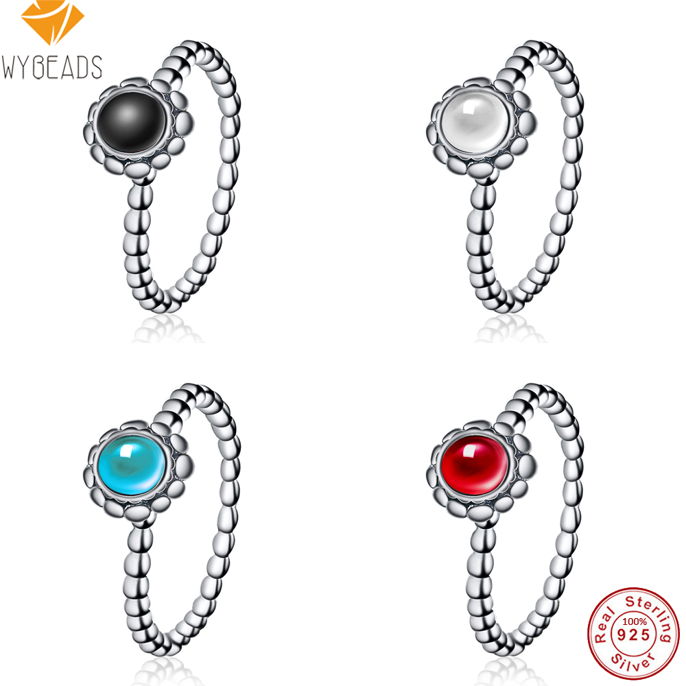 WYBEADS 100% 925 Sterling Silver Birthday Blooms Rings For Women Wedding Party Birthday Fashion Ring Original Jewelry Making
