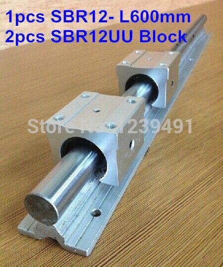 1 pc guia SBR12 L600mm linear + 2 pcs SBR12UU rolamento linear bloco cnc router