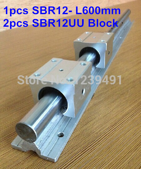 1pc SBR12 L600mm linear guide 2pcs SBR12UU linear bearing block cnc router in Linear Guides from Home Improvement