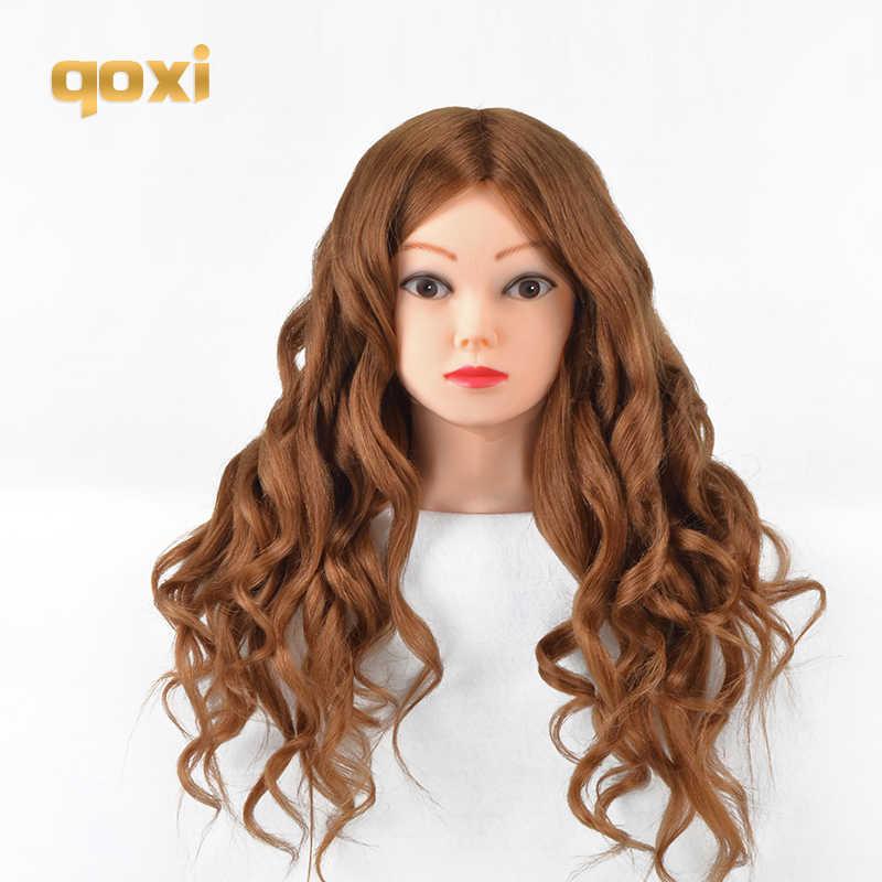 Qoxi cabeças de treinamento profissional com 80% cabelo humano real pode ser enrolado prática cabeleireiro manequim bonecas estilo maniqui