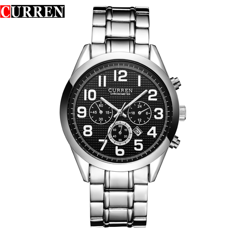 CURREN Watches Mens Luxury Brand Black Full Steel Waterproof Analog Quartz Watch Men Fashion Casual Business Wristwatches 8050 weide fashion men gift business watches men luxury brand silver stainless steel band waterproof analog digital mens quartz watch