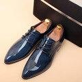 Los Hombres Visten zapatos de estilo británico de cuero Genuino Pisos punta estrecha Casual Zapatos Brogue Moda Primavera/Otoño Hombre Oxfords zapatos 1.9