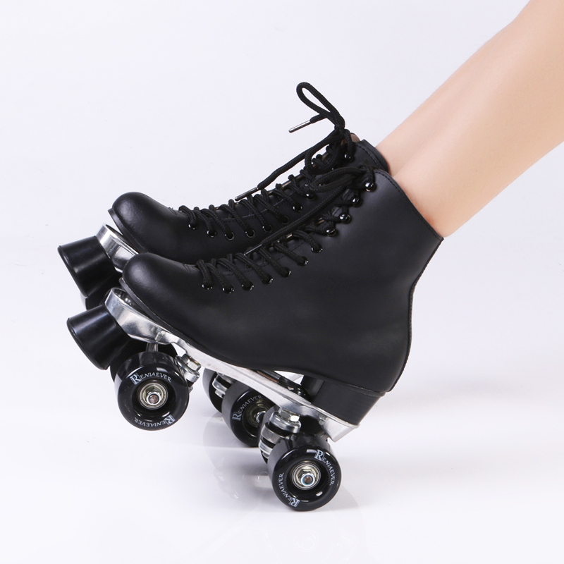 double roller skates genuine leather metal base two side roller skate patins lady ice skates. Black Bedroom Furniture Sets. Home Design Ideas