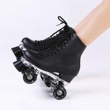 Reniaever patines de rodillos dobles cuero genuino Side patín de ruedas Patins dama de hielo patines Patins Adulto zapatillas de Skate para adultos