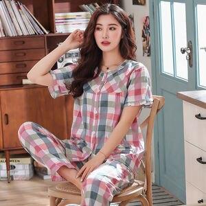 Image 1 - Pajamas Set Women Summer Mom Sexy Flower Cotton Pyjamas 2Piece/Set Long Pants Short Shirt Big Size Pregnant Home Mom Sleepwear