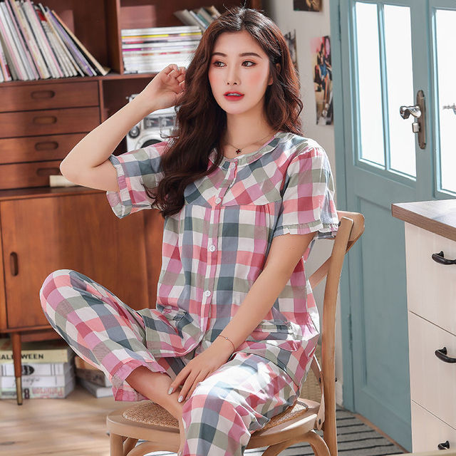 Pajamas Set Women Summer Mom Sexy Flower Cotton Pyjamas 2Piece/Set Long Pants Short Shirt Big Size Pregnant Home Mom Sleepwear