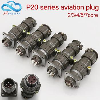 Wtyczka lotnicza gniazdo okrągłe złącze P20 serii 2 3 4 5 7core średnica 20MM wtyczka lotnicza tanie i dobre opinie HAOGNCN