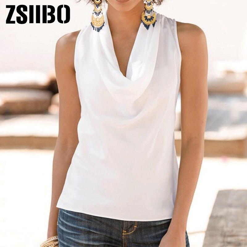 2019 summer fashion woman blouses solid womens tops and blouses Chiffon Shirts Lady double collar Sleeveless Ruffles Tops(China)