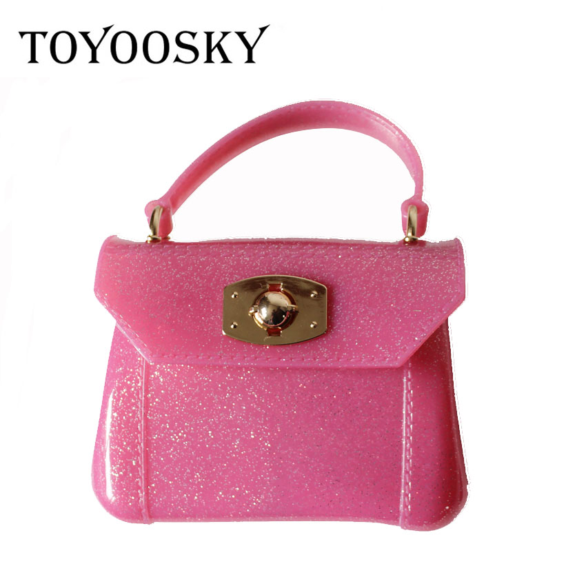 TOYOOSKY Women mini candy color PVC Jelly handbag kid girls shoulder bag transparent purse messenger bag wholesale drop shipping free shipping butterfly shopping bag lovely pvc waterproof ted bag colorful jelly handbag women handbag with original logo