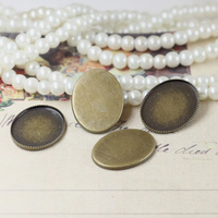13*18mm 200pcs Antique Bronze Blank Pendant Trays Bases Cameo Cabochon Setting for Glass/Stickers