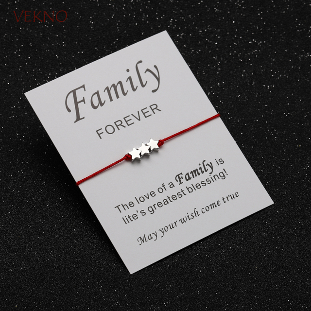 Vekno Trio Silver Star Bracelet Red String Card Customisable Adjule 10 Cord Dainty Bracelets Bridesmaids