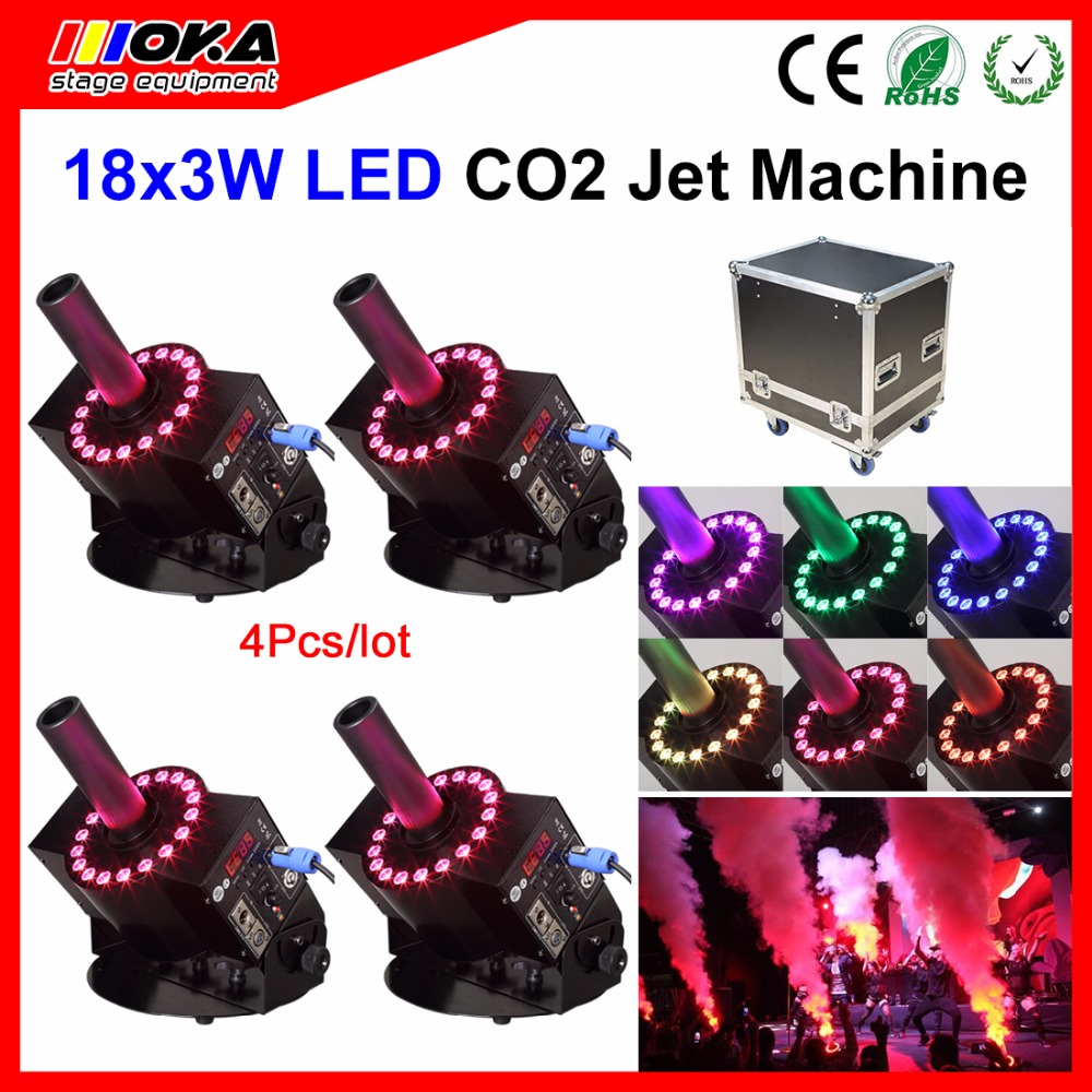 4pcs/lot flight case packing Dj Equipment CO2 Jet Cannon Pistolas DE CO2 RGB LIights Stage Cryo Jet Co2 Jet Blasting 4pcs lot fligt case special effect co2 cryo jet dj equipment co2 smoke machine for clubs concert theater
