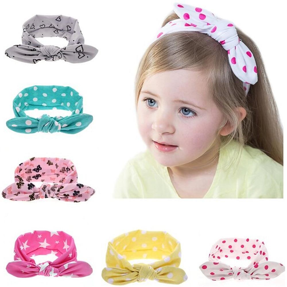 1 peças nova curva nó bonito do bebê elasticidade Headband meninas orelhas de coelho faixa de cabelo Cotton Headwear crianças acessórios de cabelo W189
