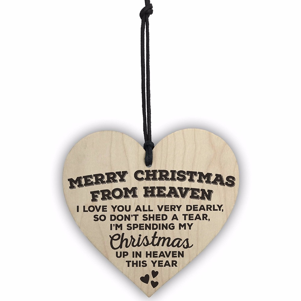 Christmas From Heaven.Us 12 72 30 Off Meijiafei Merry Christmas From Heaven Wooden Hanging Heart Plaque Tree Decoration Sign In Plaques Signs From Home Garden On