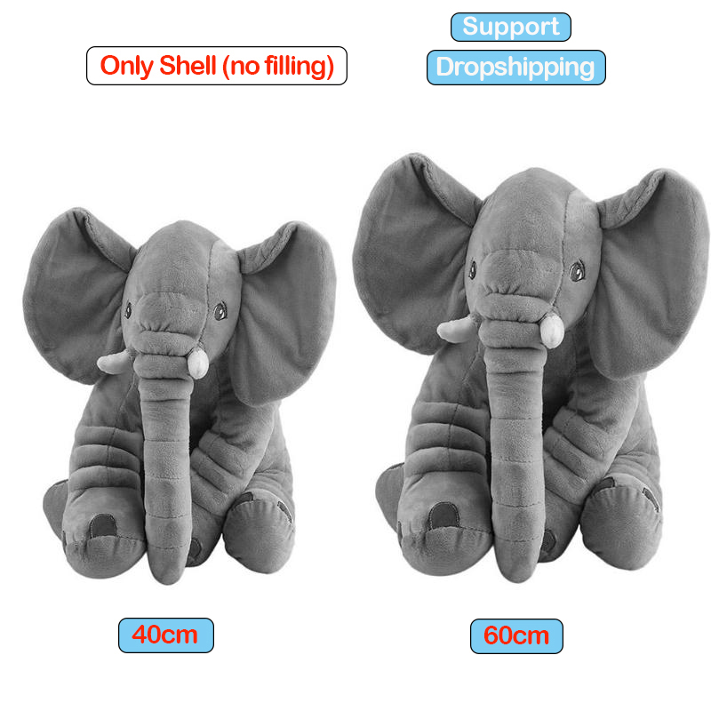 40/60cm Cartoon Plush Elephant Playmate Calm Doll Shell Baby Appease Toy Non Stuffed Accessories Elephant Pillow Case No Filling
