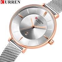 CURREN Fashion Analog Classic Silver Watches For Womens Quartz Steel Mesh Wrist Watch bayan kol saati 30M Water Resistant relo