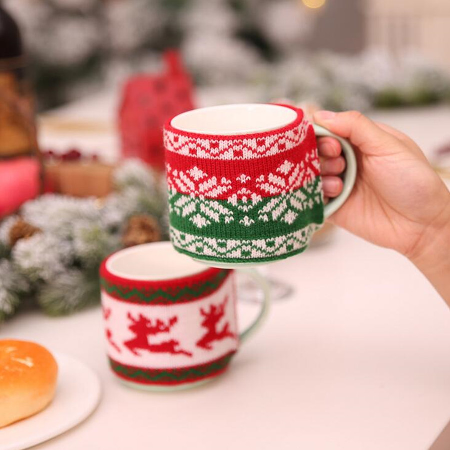 Christmas Knitted Woolen Mug Coffee Cup Cozy Set Xmas Jacquard Knit Tea Ceramic bottle glass Sleeve bag Drinkware party Gift