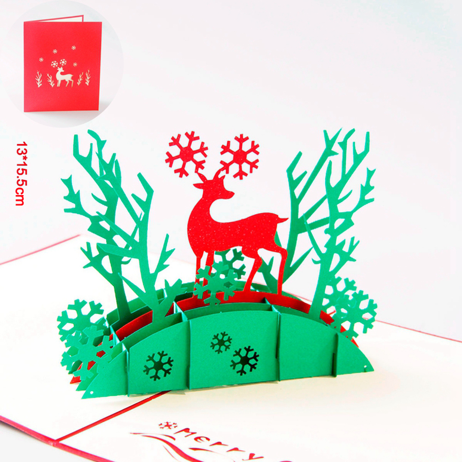 Christmas Deer 3d Laser Cut Pop Up Paper Pop Up Handmade Postcards
