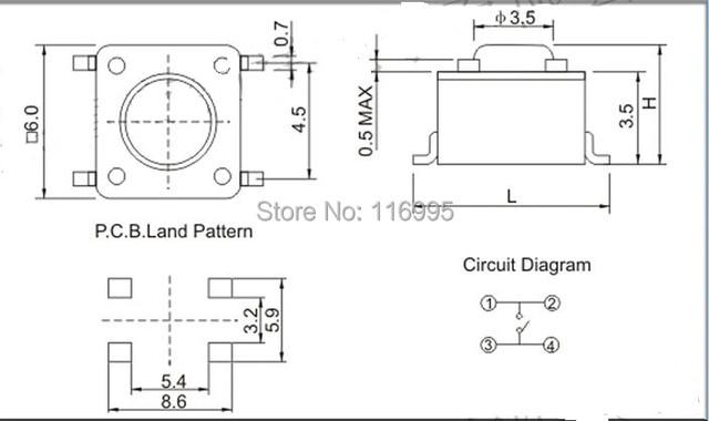FREE SHIPPING 100pcs tact Switch 3*6*45MM/3 x 6 x4 5 mm SMD 2 pin