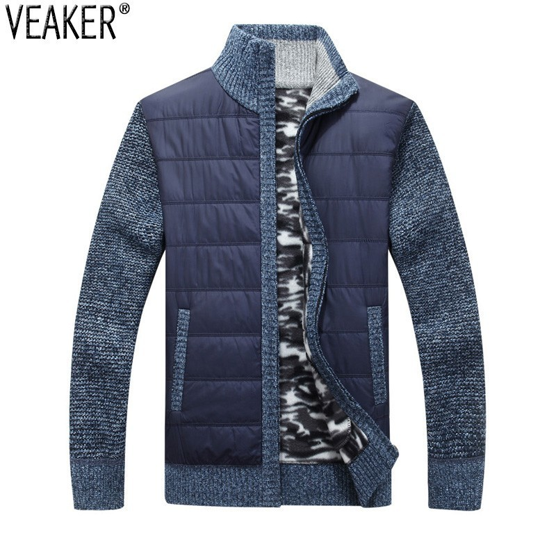 2019 New Men's Thick Sweater Coat Male Autumn Winter Down Sweatercoat Black Blue Gray Zipper Sweater Jacket Outerwear M-3XL