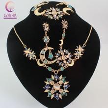 Women's Mystic Sun Moon Decoration  Gold Plated Rhinestone Long Chain Pendant Necklace Bracelet Earring Party Jewelry Set
