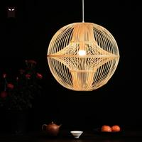 Bamboo Wicker Rattan Ball Globe Shade Chandelier Fixture Rustic Country Modern Chinese Hanglamp Hanging Ceiling Lamp E27 Lights