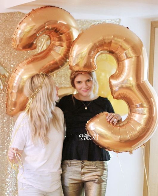 2PCS 40 Inch Big Large Gold Number Balloons Kids Party