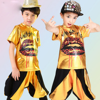 Sequined Children's Gold Jazz Tops+sweatpants Boys Girls Hip Hop Performance Dancewear Outfits Kids Adults Party dance costumes