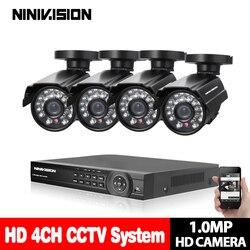 4CH System cctv 1080P ahd dvr 4 sztuk 1.0MP IR odporny na warunki atmosferyczne odkryty 720P kamera do domowego systemu alarmowego System nadzoru zestawy e-mail Alert