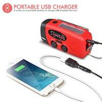 AM FM WB Portable Solar Dynamo Hand Crank Self Powered Emergency Radio With 3 LED Flashlight