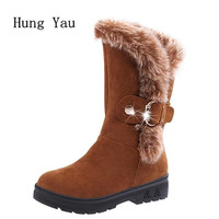 Women Snow Boots Ankle 2017 Winter Warm Female Casual Shoes Platform Woman Fur Round Toe Boots