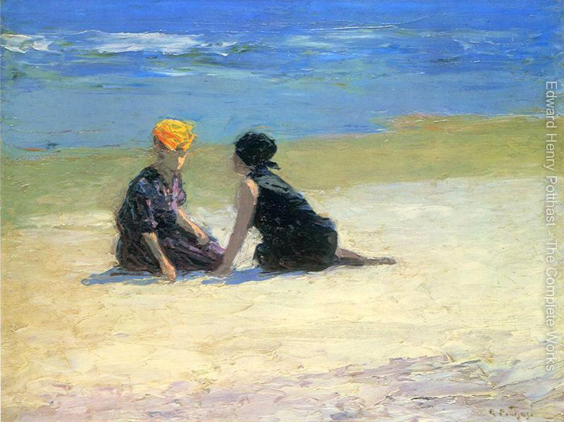 Landcape oil painting Beach Confidences by Edward Henry Potthast High quality Hand painted Canvas Art Home DecorLandcape oil painting Beach Confidences by Edward Henry Potthast High quality Hand painted Canvas Art Home Decor