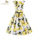 Sishion cuenta con 2017 mujeres vestidos de verano sin mangas vestido de tirantes de cintura alta casual lemon amarillo de impresión floral 50 s 60 s vintage dress vd0395
