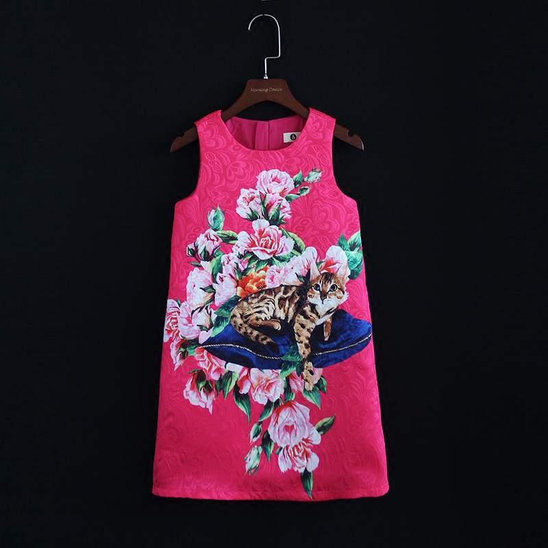 family look clothes rose cats flower print party dress women children girls Sleeveless mini me dress mother and daughter dresses sweet round collar flower and leaves print sleeveless dress for women