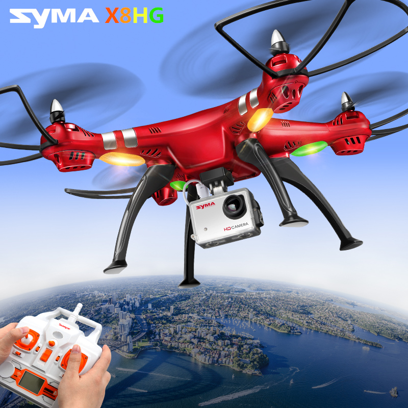 SYMA X8HG Drone 6 Axis 4CH RC Quadcopter Drones W/ 8MP HD Camera Helicopter High Hover  Rotating Remote Control Drones Red Color